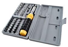 Case of adjustable ratcheting bit holder screwdrivers multi socket bits set kit