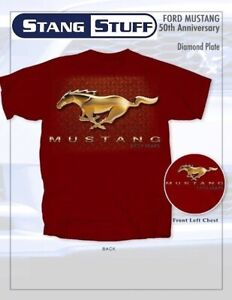 Mustang-50-Years-Diamond-Plate-Garnet-T-Shirt-CLOSEOUT-amp-Priced-to-Move-LOOK