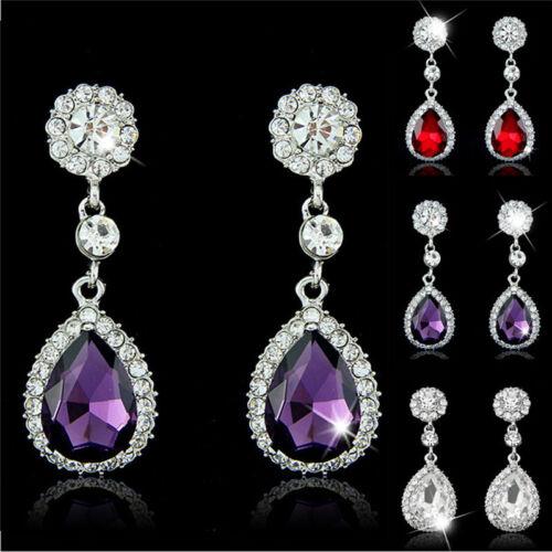 Trendy Rhinestone Bridal Water Drop Earrings Weddings Crystals Stud Earings )