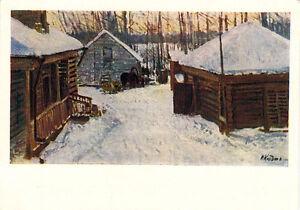1959-Russian-postcard-WINTER-SCENE-IN-THE-VILLAGE-by-M-K-Klodt