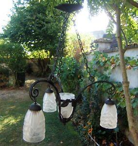 ancien lustre suspension tulipe art déco signé Schneider montuer fer forgé l90JuR9U-09111856-502981904