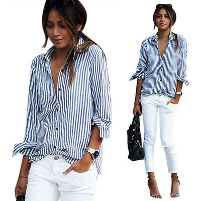 Fashion Women Long Sleeve Casual Striped Cotton Shirt Tops Blouse Elegant Top