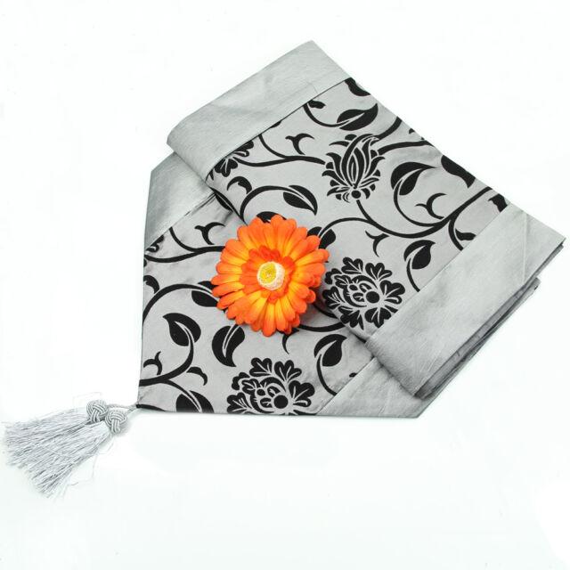 """78""""X12"""" Wedding Decor Flower Raised Blossom Flocked Damask Table Runner Cloth"""