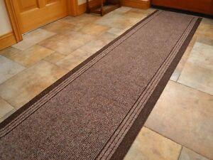 Hardwearing Dark Brown Hallway Floor Mat Runner Rug Any
