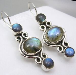 925-Solid-Silver-NATURAL-BLUE-FIRE-LABRADORITE-GEMSTONE-HANDCRAFTED-Earrings