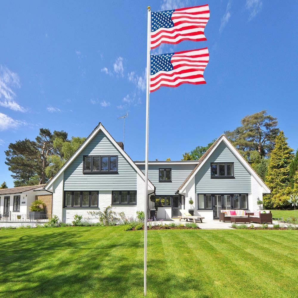 20 Ft Sectional Aluminum flagpole US American USA 2x Flag Po