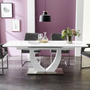 esstisch ulm wei glas und wei hochglanz ausziehtisch 160 200x90 esszimmer tisch ebay. Black Bedroom Furniture Sets. Home Design Ideas
