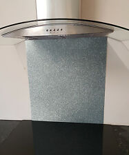 Toughened Glass Splashback in Silver Glitter 600x750mm or custom size