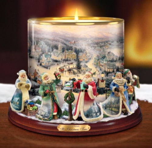 Thomas-Kinkade-Bradford-Exchange-It-039-s-Christmas-Time-Candle-Holder-Centerpiece