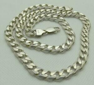 Men-s-Superb-Italian-Chunky-925-Sterling-Silver-Flat-Curb-Link-Neck-Chain-66gr