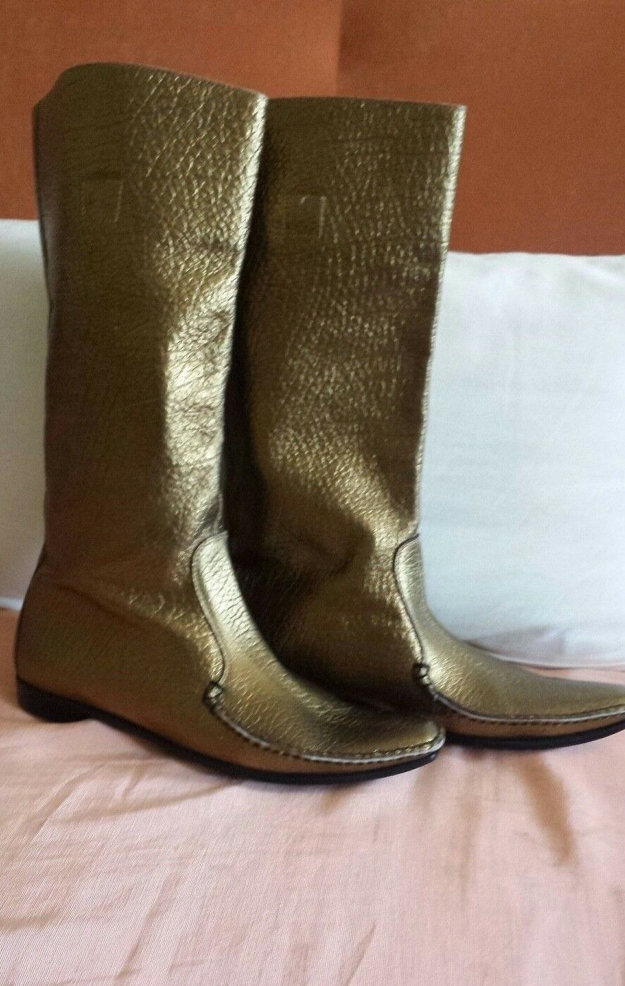 SIGERSON MORRISON GOLD Matte DISTRESSED LEATHER MID CALF Stiefel ITALY Größe 7.5