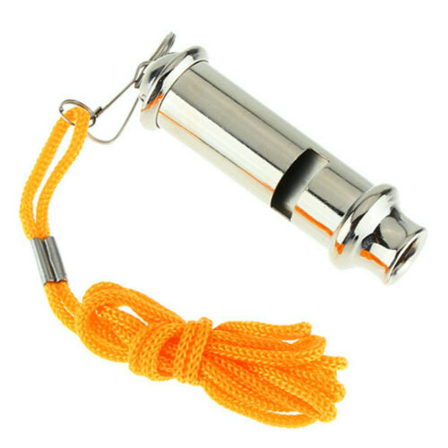 Portable Silver Metal Whistle with Neck Chain For Police Bobby Judge Security