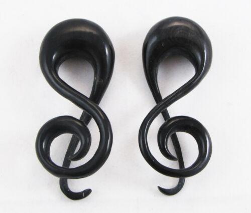 "Pair Handmade Music Note Spiral Horn Tribal Hanger Ear Plugs Expander 8G-9//16/"""