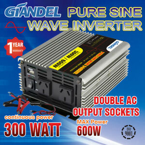 Pure-Sine-Wave-Power-Inverter-300W-600W-Max12VDC-240VAC-With-Car-Plug
