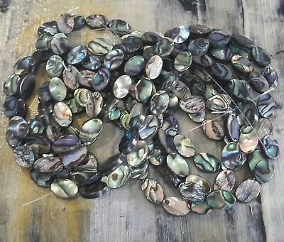 Natural Abalone//Paua Shell Flat Round Bead Strand  33 pceFree Postage Oz Seller