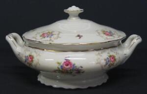 Vtg-EPIAG-lidded-VEGETABLE-CASSEROLE-TUREEN-bowl-floral-Czechoslovak-Deutschland