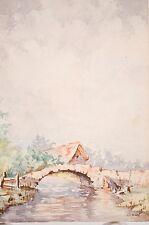 -aquarelle originale, petit paysage début XX° Signée M Noel