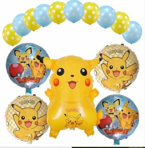 Pokemon Pikachu Birthday Parties Helium Foil Balloons Bouquet Decorations Kit!