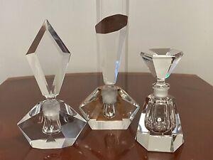 Lot-of-3-Vintage-UNUSED-Multi-Faceted-Tall-Heavy-Crystal-Glass-PERFUME-BOTTLES