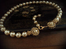 Vintage Baroque Pearl & Seed Beads Necklace, Very Miriam Haskell Style