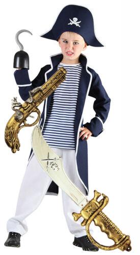 Boys Kids Childs PIRATE Fancy Dress Costume Outfit Captain Hook SWORD /& GUN 4-12