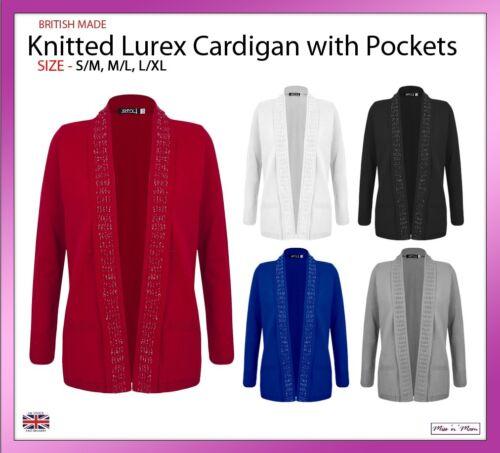 NUOVA DONNA DONNE BORDO A BORDO LUREX Cardigan Tasche Con Tasche Taglia S//M-L//XL