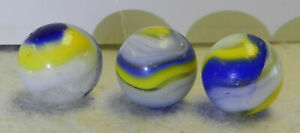 #10469m 3 Larger Akro Agate Popeye Marbles *Played With*