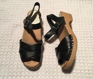 Details About Hanna Andersson Swedish Crossover Wood Clogs Sandals 150 Black Leather 37