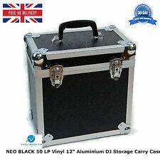 "1 X NEO BLACK Aluminium DJ Storage Carry Case for 50 LP Vinyl 12"" Records TOUGH"