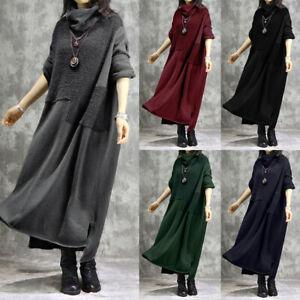 ZANZEA-Women-039-s-Cowl-Neck-Sweatshrit-Shirt-Dress-Fluffly-Split-Midi-Dress-Jumper