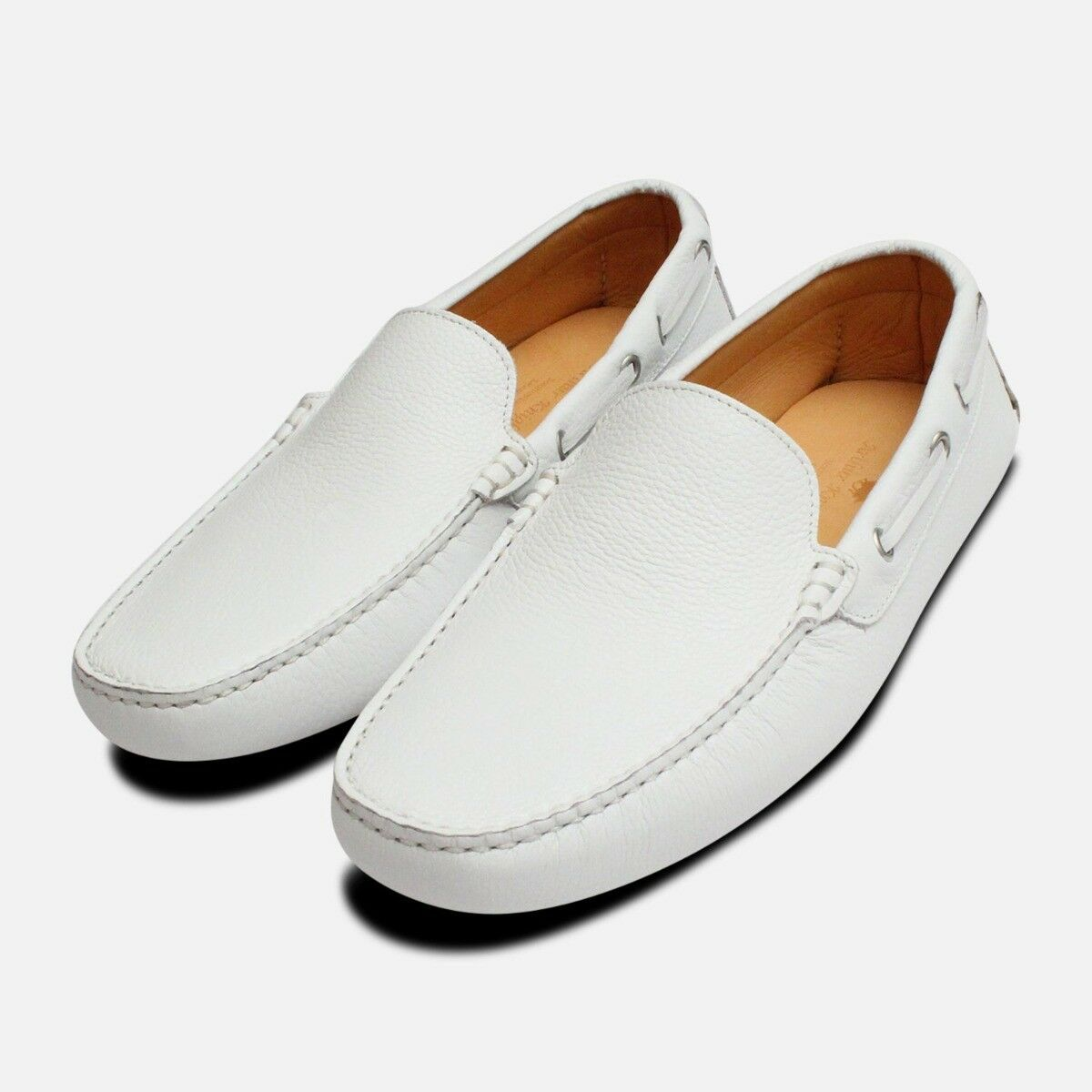 White Leather Mens Driving shoes Moccasins