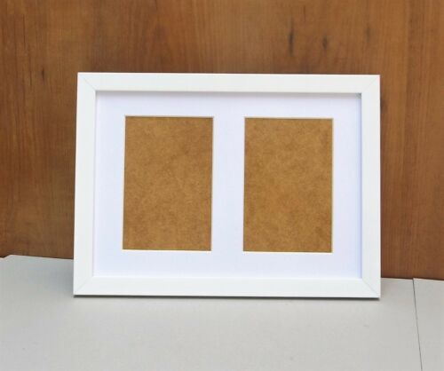 """Narrow Brushed White Photo//Picture Frame with Double 6x4//4x6/""""Aperture Mount"""