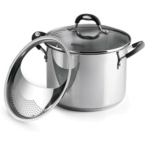 Tramontina Lock-N-Drain Stainless Steel 6 Quart Covered Stock Pot 3 Count