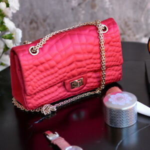 14c38a6709f2 Details about Chanel SATIN Classic 2.55 Reissue 226 Quilted PINK Chain Flap Bag  clutch purse