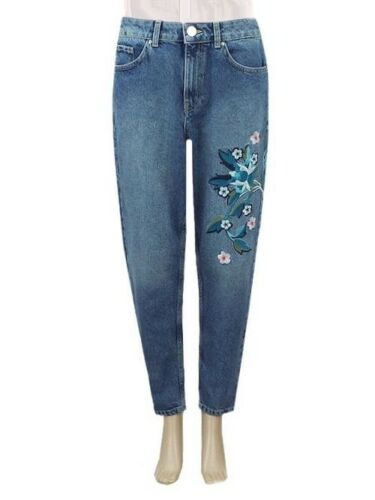 M/&S MARKS AND SPENCER LIMITED EDITION BLUE EMBROIDERED DESIGN MOM JEANS 4-18