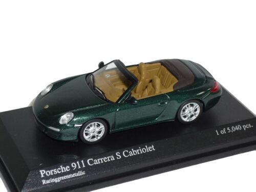 Porsche 911 997 Carrera S Cabrio Racing GrÜn 1//64 Minichamps Modell Auto Modella
