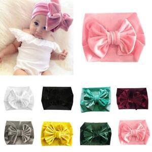 Handgemachte-samt-Turban-Bogen-Stirnband-Baby-Kids-elastischen-Knoten-Haarband