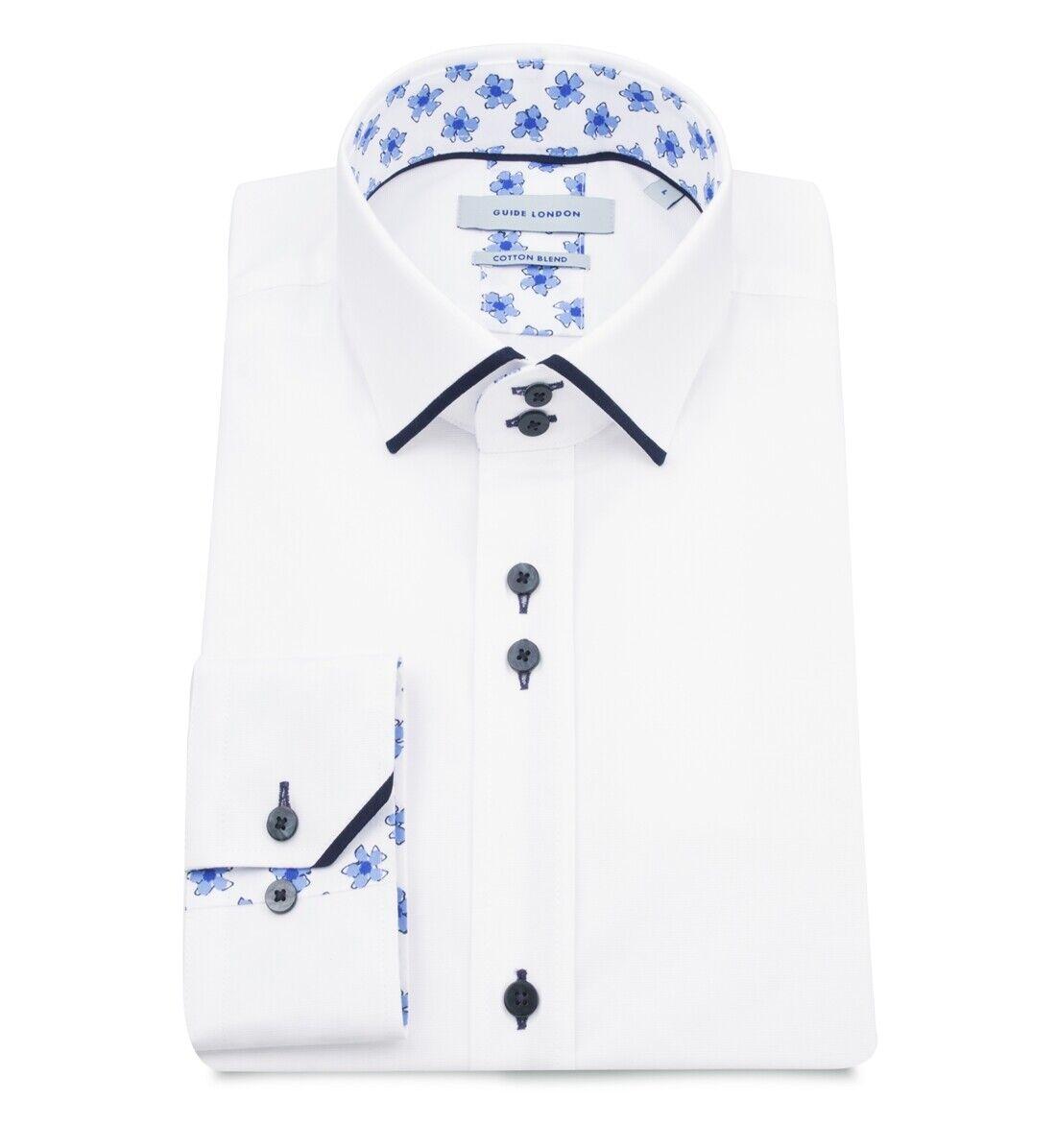 Guía Londres blancoo Azul Camisa De Algodón Mezcla Liso  detallado-LS75065  Entrega rápida y envío gratis en todos los pedidos.