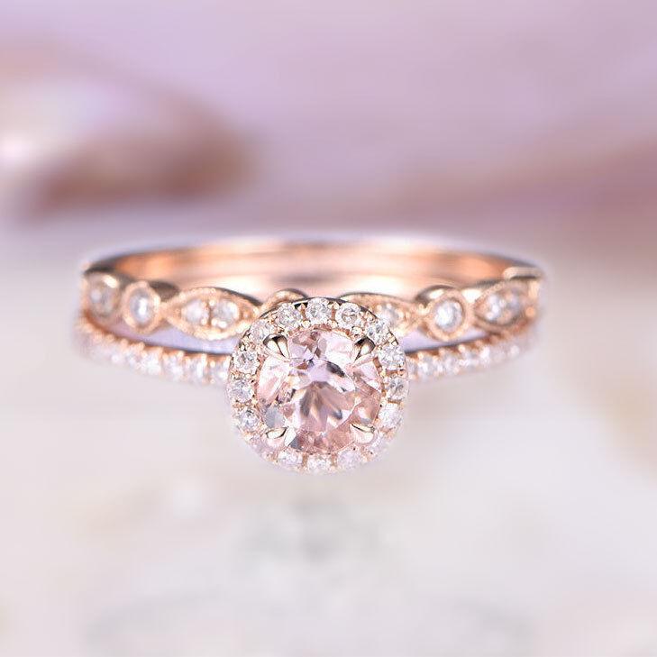 14k solid gold ring 4 m.m round morganite ring set diamond ring wedding DJR0246