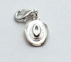 Cowboyhut Charm Anhänger mit Karabinerhaken Cowgirl Hut 925 Sterling Silber Neu