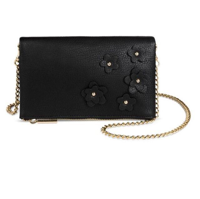 1ba293a6b7 New Merona Target Handbag Crossbody Bag Purse Floral Black Faux Leather  Small