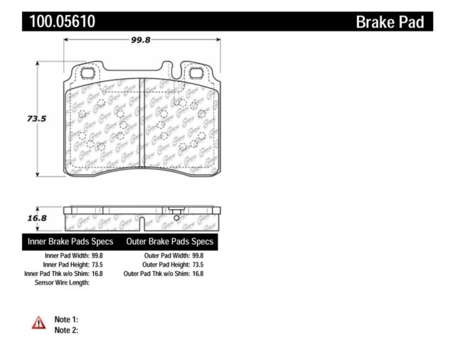 Disc Brake Pad Set-Base Front Centric 102.05610