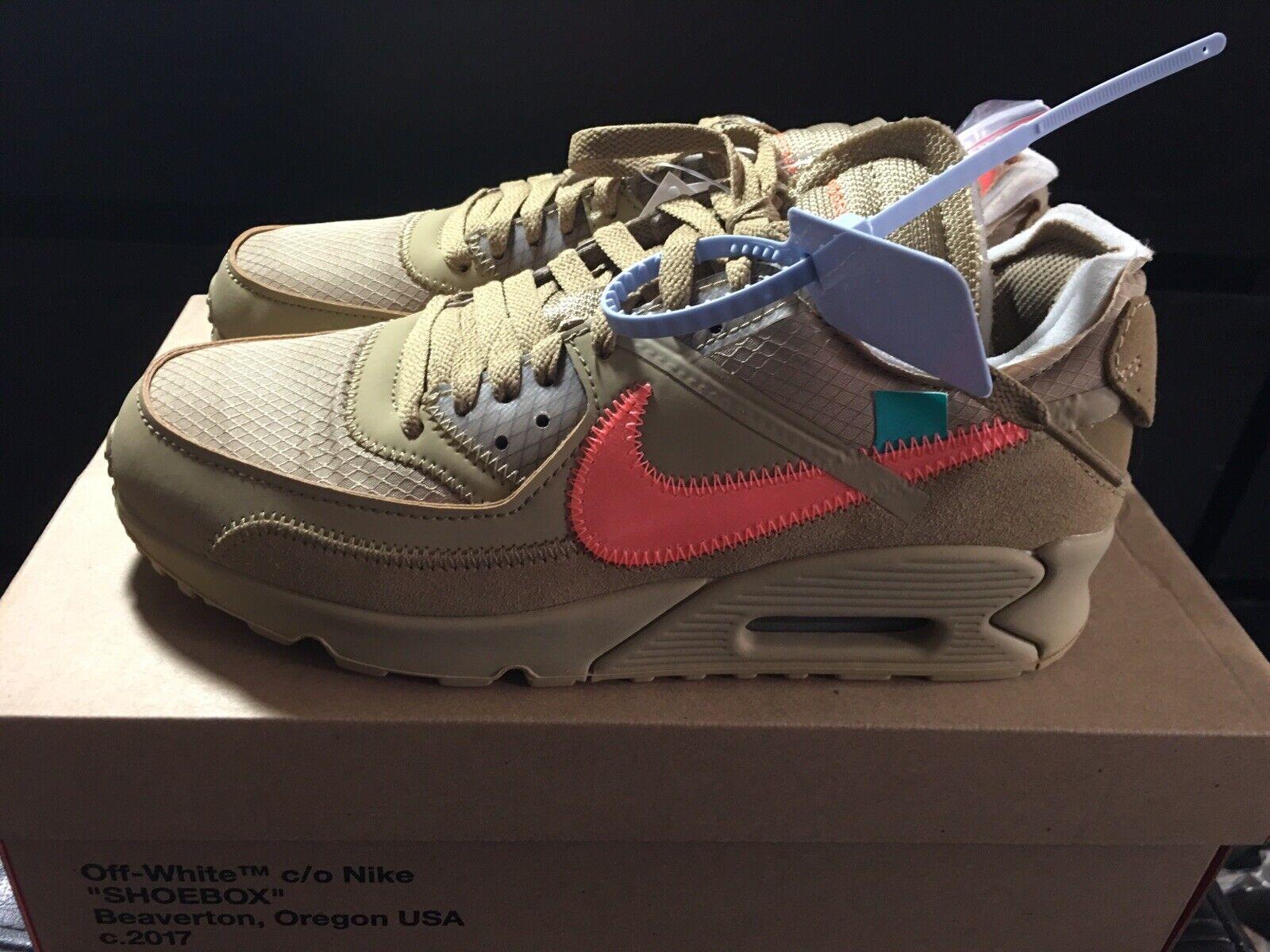 Off-White X Nike Air Max 90 Desert Ore Beige AA7293-200 Size 7