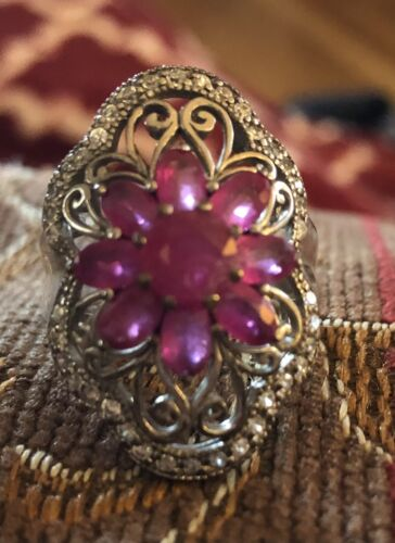 Sterling Silver Ruby Floral Flower Ring - image 1
