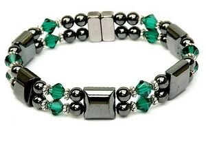 Women S Magnetic Bracelet Anklet With Emerald Green Swarovski
