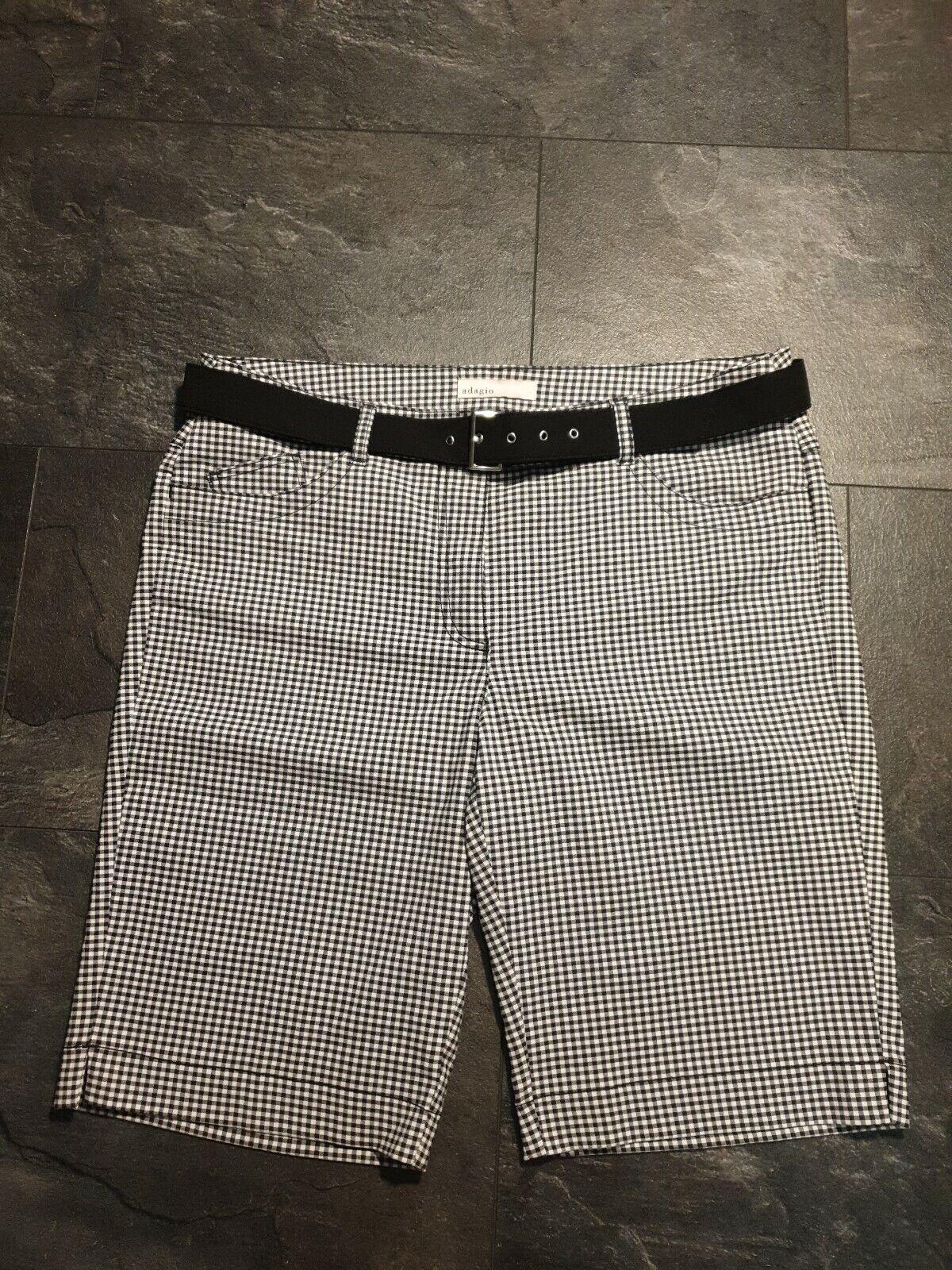 adagio Bermudashorts & Shorts gr.44/L kariert neu ohne Etikett weiß/ schwarz
