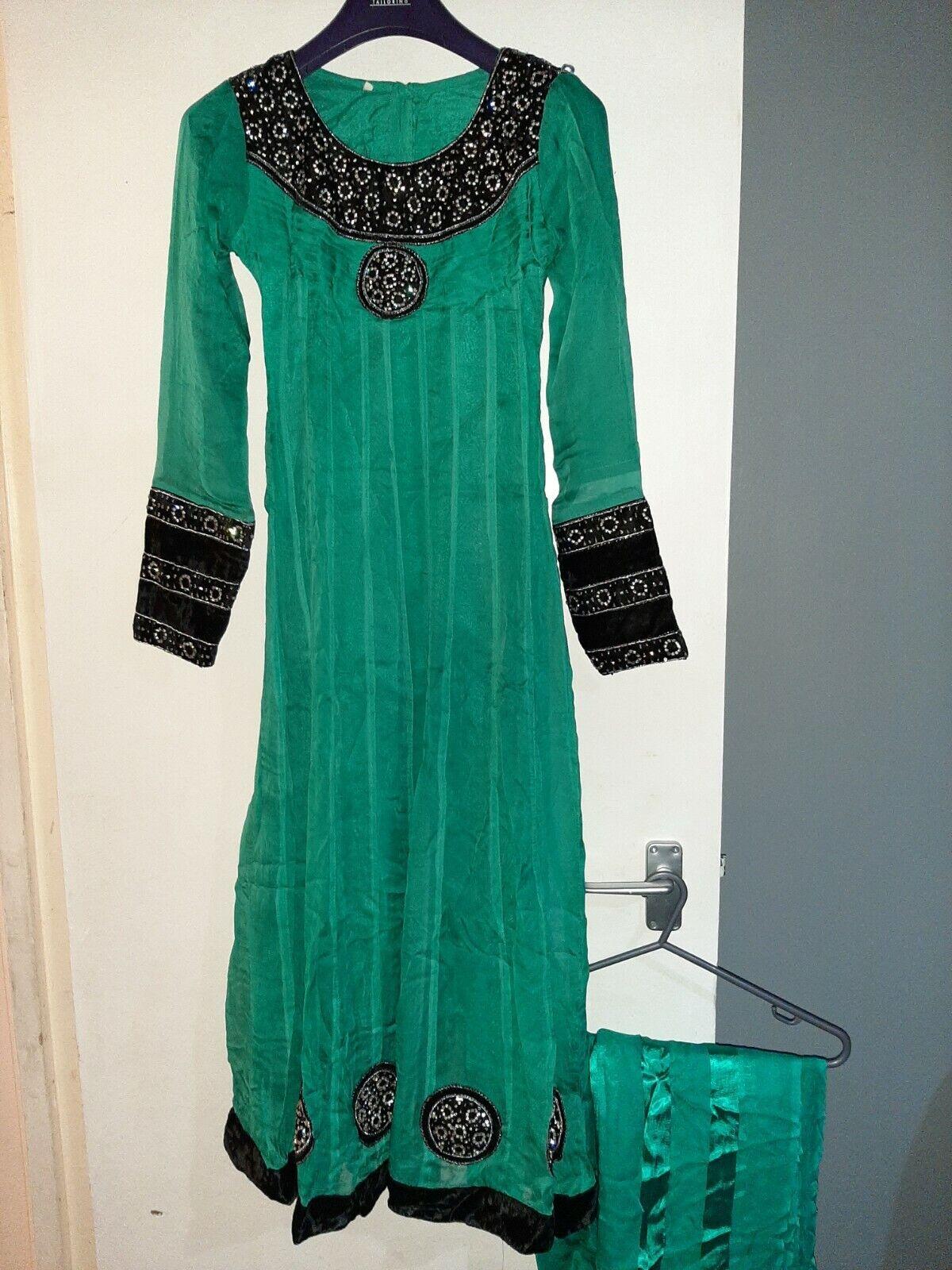 Pakistani Shalwar Kameez In Aqua & Black Size S VGC