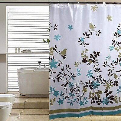 PEVA Leaves Shower Curtain Waterproof Anti-mildew Thicken 12 Buckles 180*180CM