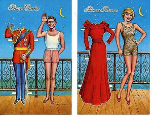 Princess-Diana-Prince-Charles-Royalty-Paper-Doll-Postcard-Set-1983-Artist-Drawn