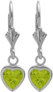 Sterling-Silver-1-20-Carat-6mm-Genuine-Peridot-Heart-Leverback-Earrings